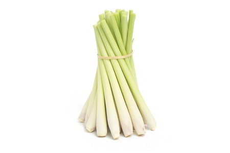 Bundle of Fresh Lemon Grass on white background