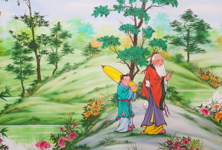 Chinese art on the walls of the Chinese  temple  Loei Province, Thailand
