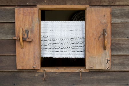 Old wooden window  and the white blinds  Thailand traditional style  photo