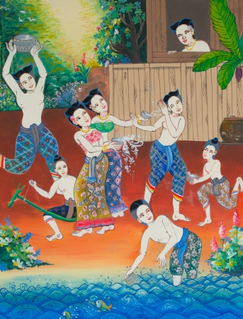 famous painting: Songkran festival  painting on wall in temple  Editorial
