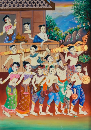 Rocket festival or Boon Bang Fai painting on wall in temple  Editorial