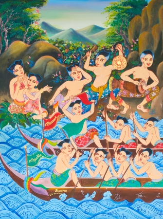 thai painting: Long boat racing painting on wall in temple