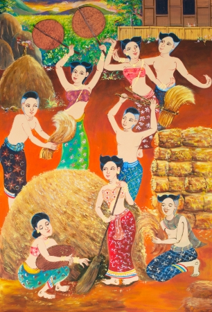 harvest rice Festival painting on wall in temple