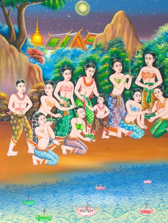 Loy Kratong Festival painting on wall in temple