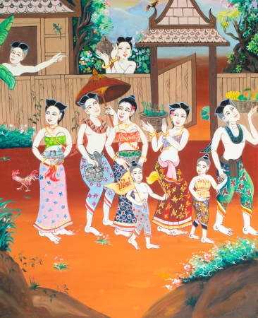 famous painting: New year Festival painting on wall in temple