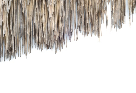 The old roof made of grass on white background