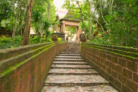 Old stairway in Thai temple photo