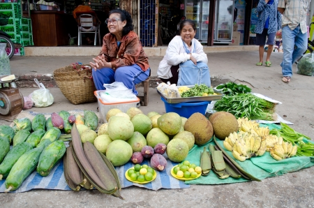 LOEI,THAILAND – OCTOBER 21  Women  sale fruit and vegetable in Local market at Loei province, Thailand  October 21, 2012  Editorial