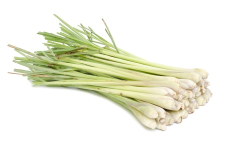Bundle of Fresh Lemon Grass on white background  Imagens