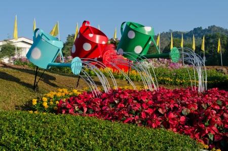 watering pot: watering pot in garden Stock Photo
