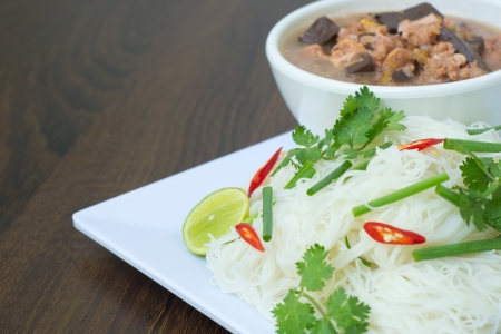Rice noodle in coconut milk sauce  MEE KATI   photo