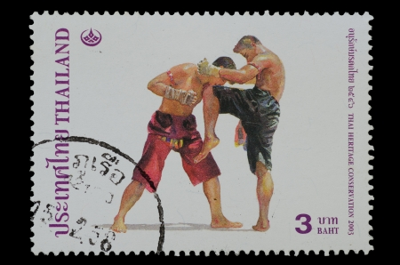 THAILAND - CIRCA 2003  A stamp printed in Thailand ,shows Thai boxing style from the series �THAI HERITAGE CONSERVATION�, circa 2003   photo