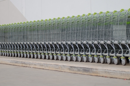 Shopping carts in a row Stock Photo - 18507806