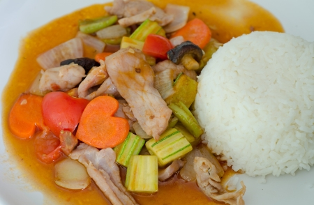 Sweet and sour sauce fried with pork photo