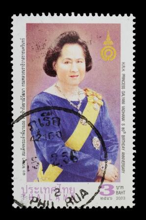 r image: TAILANDIA - CIRCA 2003 un sello de Tailandia muestra la imagen SAR la Princesa Galyani Vadhana 80 � aniversario, alrededor del a�o 2003