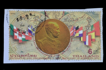 THAILAND - CIRCA 1998  a stamp from Thailand shows image Centenary of  king Chulalongkorn  King Rama V   First state visit to Europein in 1897, circa 1998