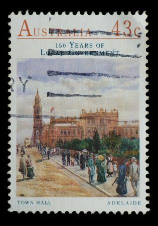 AUSTRALIA - CIRCA 1990  stamp printed by Australia, shows Town Hall, Adelaide, circa 1990 photo