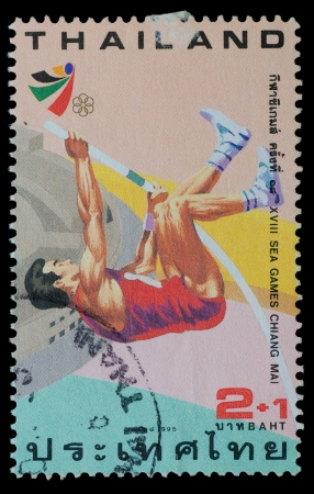 THAILAND - CIRCA 1995  A postage printed in Thailand show image of pole jump  from XVIII SEA GAMES CHIANG MAI Commemorative Stamps , circa 1995