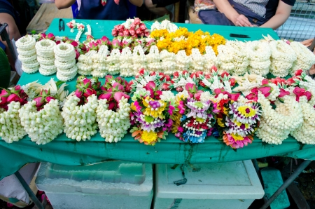 klong: Garland flower for sale at flower market bangkok, Thailand Stock Photo