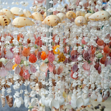 Mobile made from various shells for sale in Phuket,Thailand photo