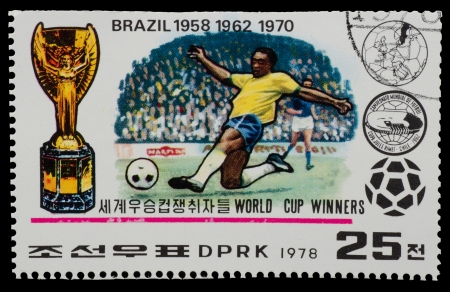 NORTH KOREA - CIRCA 1978: A Stamp printed in NORTH KOREA shows the Blazil world Cup champion (1958, 1962, 1970 ) from the series World Cup Winners, circa 1978