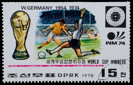 NORTH KOREA - CIRCA 1978: A Stamp printed in NORTH KOREA shows the Germany world Cup champion (1954, 1974 ) from the series World Cup Winners, circa 1978
