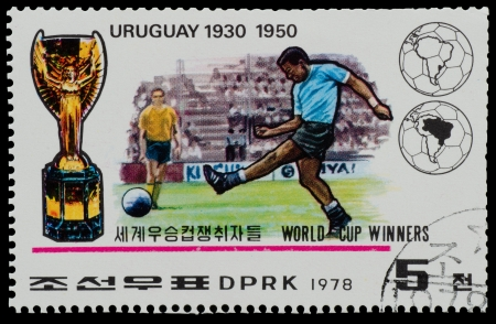 NORTH KOREA - CIRCA 1978  A Stamp printed in NORTH KOREA shows the Uruguay world Cup champion  1930, 1950  from the series  World Cup Winners , circa 1978