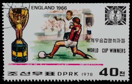 NORTH KOREA - CIRCA 1978  A Stamp printed in NORTH KOREA shows the  England world Cup champion  1966  from the series  World Cup Winners , circa 1978