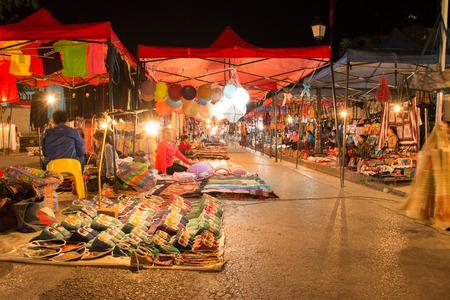 night market: Luang Prabang Jan 24  Night Market at Luang Prabang, Laos on January 24, 2014 in Luang Prabang, Laos