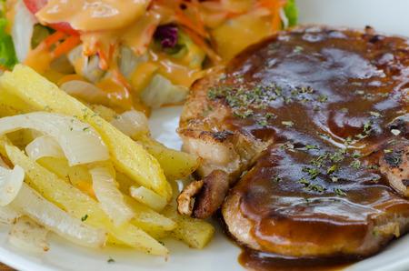 pork chop: pork chop steak Stock Photo