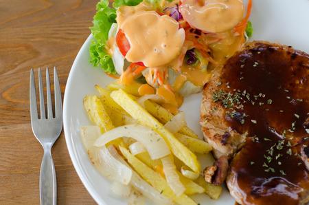 karaj: pork chop steak Stock fotó