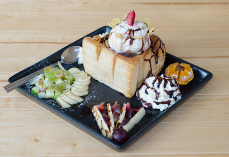 toast with ice cream and fruit photo