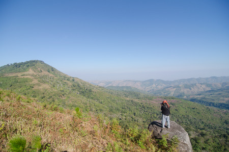 janu: LOEI THAILAND - JANUARY 17 : Tourist happy with your visit  phu lomlo moutain at Loei, Thailand on Janu Stock Photo