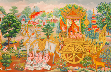 interior drawing: Art Thai, Mural mythology buddhist religion on wall in Wat Neramit Vipasama, Dansai, Loei, Thailand