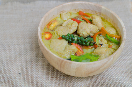 cooked pepper ball: Green curry fish balls is Thai cuisine. Stock Photo