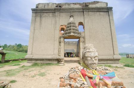 leavings: Old Buddha in Ancient Temple, Sangklaburi ,Kanchanaburi, Thailand Stock Photo
