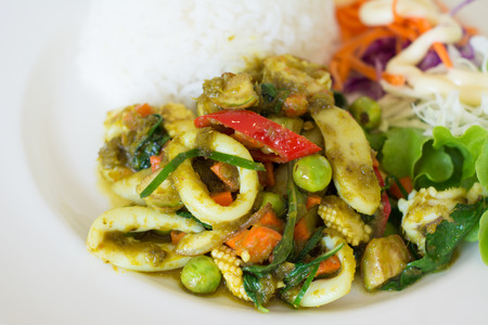 stir fried: Stir fried  green curry with seafood and rice