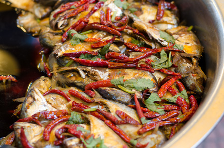 amphawa: Mackerel boiled sweet at floating market, amphawa, Thailand Stock Photo