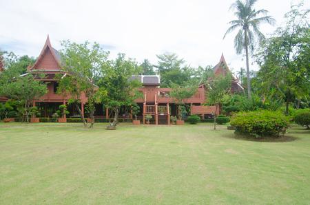 king of thailand: Thai house at King Memorial Park King Rama II, Samut Songkhram , Thailand