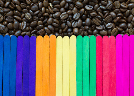 wooden stick: coffee bean and wooden stick background