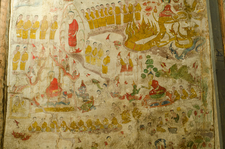 loei, Thailand November 28 : Art Thai, Mural mythology buddhist religion on wall over the age of 400 years at Wat Pho Chai, Na Haeo , Loei, Thailand . Photography on November 28, 2015 Editorial