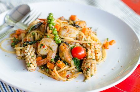 thai chili pepper: Spaghetti with spicy prawn Stock Photo