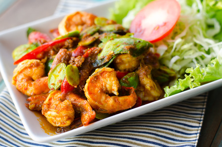 Stir-fried stink bean with shrimp and chili Stock Photo