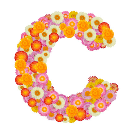 letter c: Letter C alphabet with straw flower isolated on white background Stock Photo