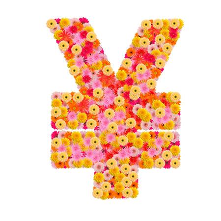 yen sign: Flower Yen sign isolated on white background