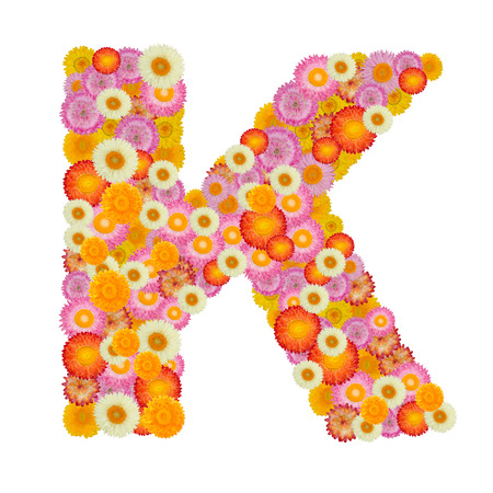 letter k: Letter K alphabet with straw flower isolated on white background