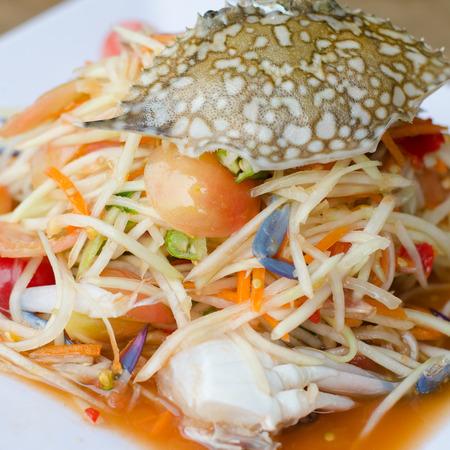 blue crab: papaya salad with blue crab Stock Photo