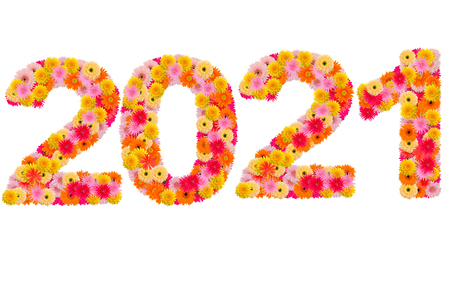 0 1 year: New year 2021 made from gerbera flowers isolated on white background