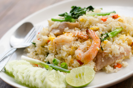 serves: Unique style Thai shrimp fried rice serves on the dish