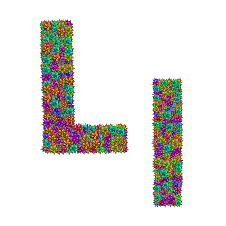 l natural: letter L made from bromeliad flowers isolated on white background